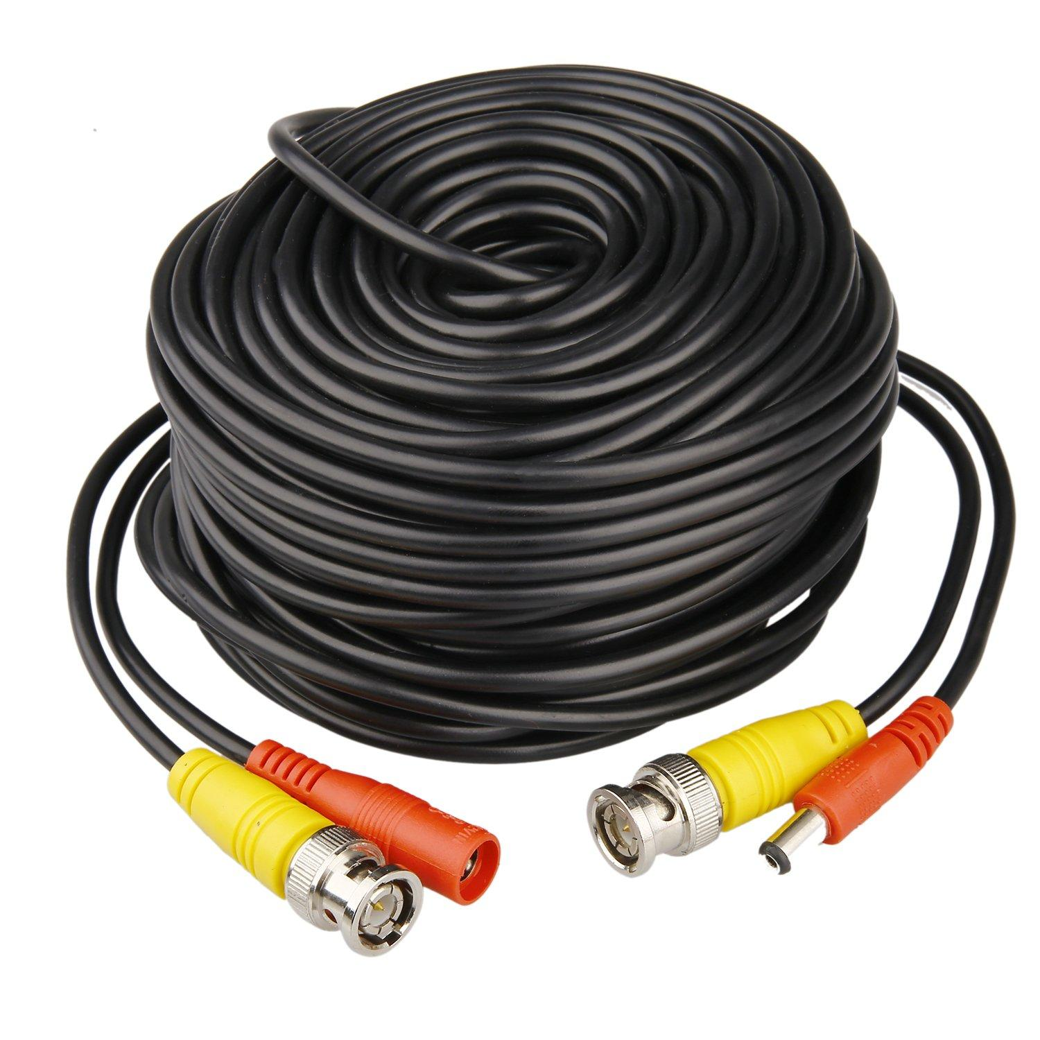 HISVISION 4 Pack 100ft BNC Video Power Cable Security Camera Wire Cord Extension