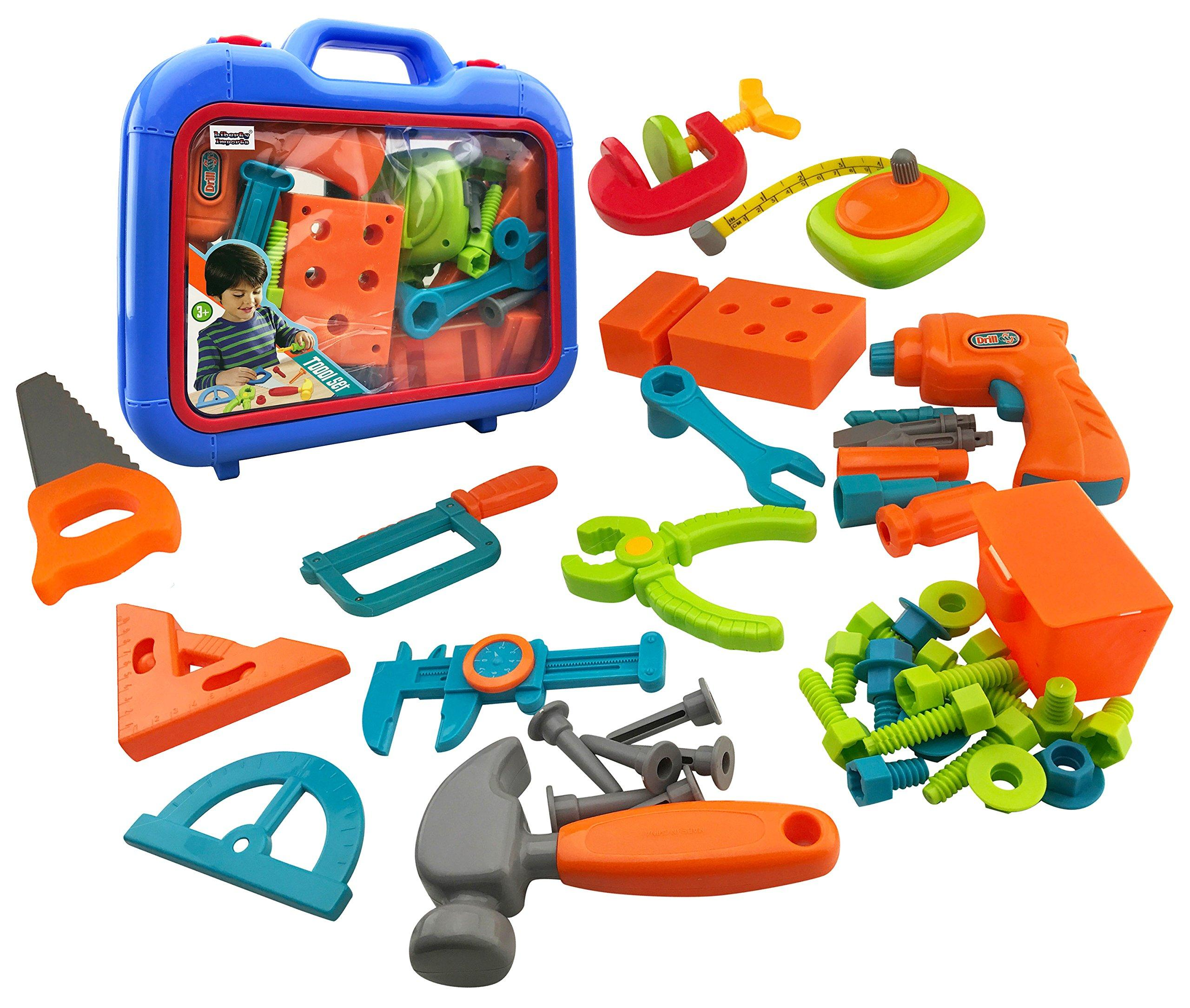 Power Tools 46-Piece Construction Toy Tool Set for Kids